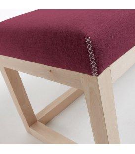 Asiento tapizado beige y estructura madera haya ALAN