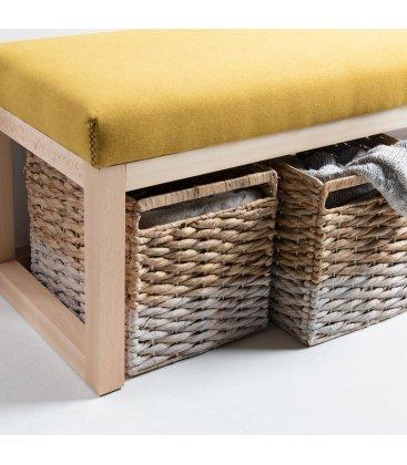 Asiento tapizado granate y estructura madera haya ALAN