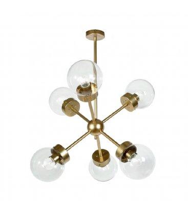 Lámpara de techo de latón con 6 brazos y tulipas de cristal opal bola ATOM