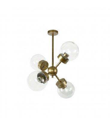 Lámpara de techo de latón con 4 brazos y tulipas de cristal opal bola ATOM