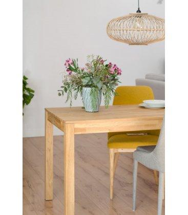 Mesa de comedor extensible rectangular de roble macizo DIRA