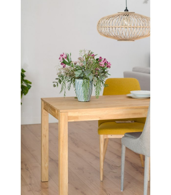 Mesa de comedor rectangular extensible de roble natural dira for Mesa comedor rectangular