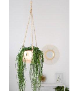 Macetero colgante de madera y cuerda natural