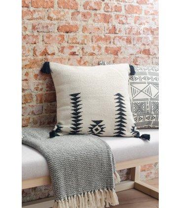Cojín de algodón natural y negro NADI 45x45cm
