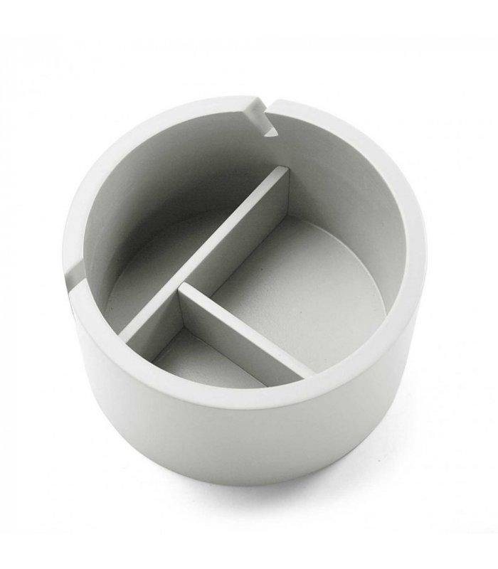 Recipiente joyero madera blanco con tapa y espejo circular for Espejo circular