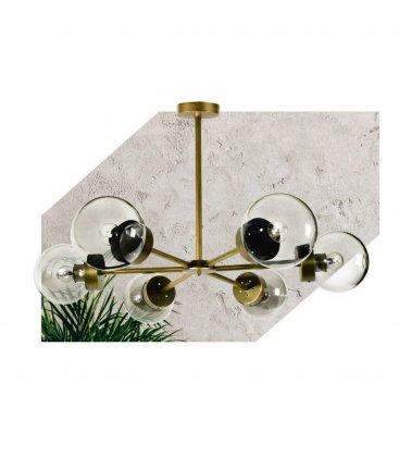 Lámpara de techo de latón con 6 brazos radiales y tulipas de cristal transparente bola ATOM