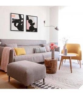 Cuadro abstracto blanco negro y rosa n2 65x92,5cm