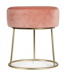 Taburete metal dorado y asiento terciopelo rosa HOLLY