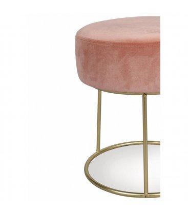 Taburete circular metal dorado y asiento de terciopelo rosa HOLLY