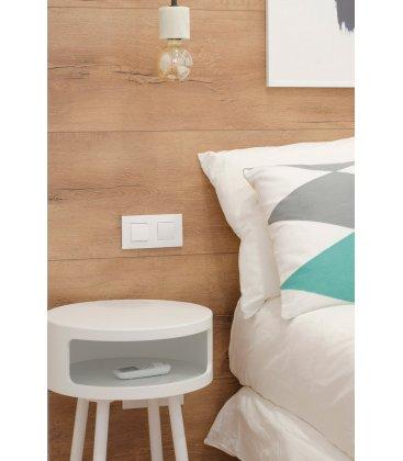 Mesita de noche o auxiliar de madera lacada en blanco BLOCK