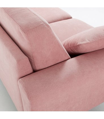 Sofá 3 plazas tapizado rosa desenfundable con patas de madera SNATCH