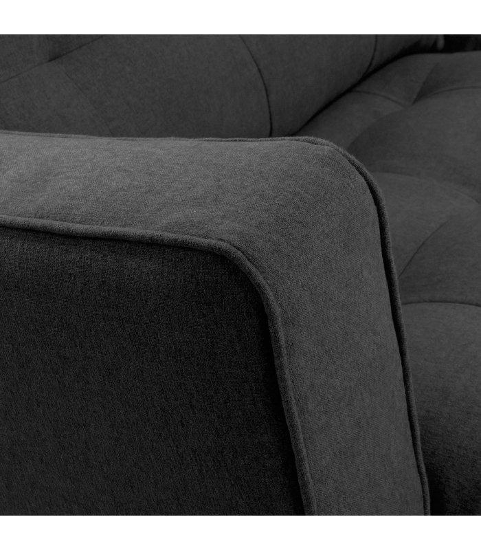 Sofá 3 plazas gris oscuro desenfundable con patas de metal negro MAD