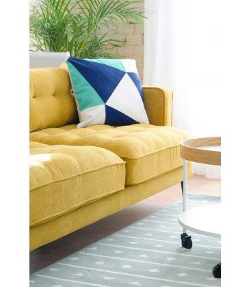 Sofá 3 plazas tapizado mostaza desenfundable con patas de metal negro MAD