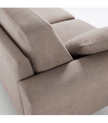 Sofá 3 plazas tapizado marrón claro desenfundable con patas de madera SNATCH