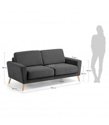 Sofá 3 plazas tapizado gris oscuro desenfundable con patas de madera SNATCH
