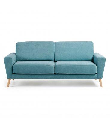 Sofá 3 plazas tapizado turquesa desenfundable con patas de madera SNATCH