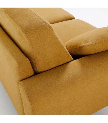 Sofá 3 plazas tapizado mostaza desenfundable con patas de madera SNATCH