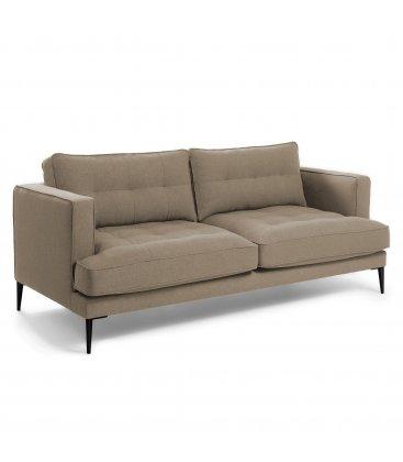 Sofá 3 plazas tapizado marrón claro desenfundable con patas de metal negro MAD