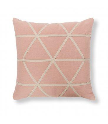 Cojín rosa y blanco triángulos TRIANGLE 45x45cm