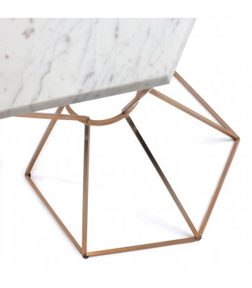Mesa auxiliar de estructura cobre y sobre hexagonal de mármol LIME
