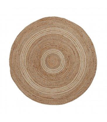 Alfombra circular de yute en color natural y gris claro (varios tamaños)