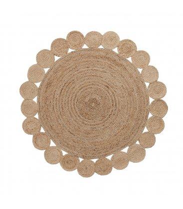 Alfombra circular de yute en color natural y festoneado de círculos