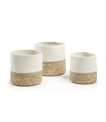 Cesta redonda mimbre natural y cuerda algodón blanco YOKO