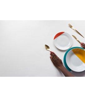 Vajilla de 18 piezas blanco y color MOMA