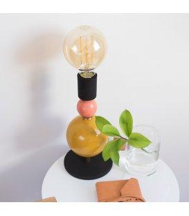 Lámpara de sobremesa cuentas mostaza y rosa BELLE