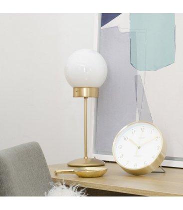 Lámpara de sobremesa de latón y tulipa cristal opal bola ATOM