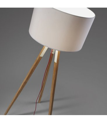 Lámpara de pie trípode de madera y tulipa blanca UZZY