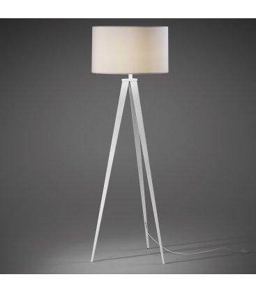 Lámpara de pie trípode de metal blanco y tulipa blanca UZZY
