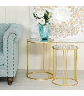2 mesas auxiliares circulares estructura dorada y bandeja de espejo MIRROR