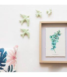 Golondrinas verde menta de cerámica esmaltadas.
