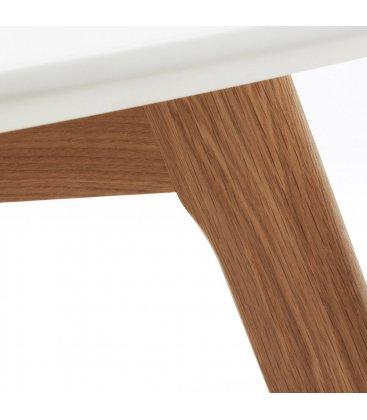 Mesa baja centro circular patas madera y sobre blanco BRIE