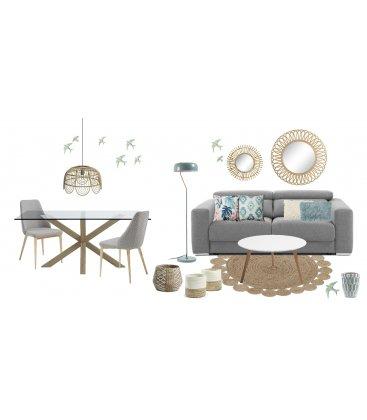 Sofá cama de 2 plazas tapizado en gris STAN