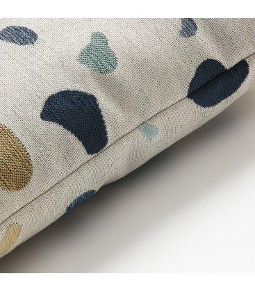 Cojín cuadrado estampado beige mostaza y azul TERRAZZO 45x45cm