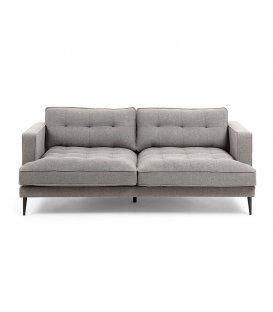 Sofá 3 plazas tapizado gris claro desenfundable con patas de metal negro MAD