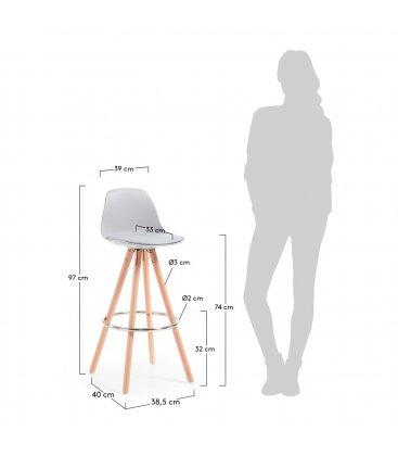 Taburete patas de madera y asiento piel sintética gris claro SUN (2 unidades).