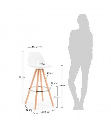 Taburete patas de madera y asiento piel sintética blanca GAS (2 unidades).