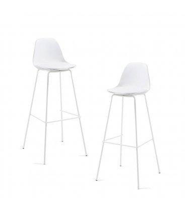 Taburete patas de metal blanco y asiento piel sintética blanca ANY (2 unidades).