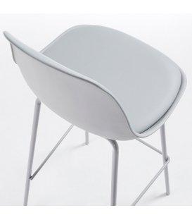 Taburete patas de metal blanco y asiento piel sintética gris ANY (2 unidades).