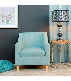 Sillón tapizado en azul claro con patas de madera CHARLOTTE