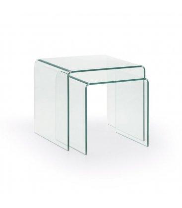 Set de 2 mesas de centro nido de vidrio templado GLASS