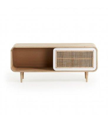 Mueble TV de madera maciza de mango y puerta corredera de rejilla DARE