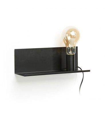 Aplique con estante metálico en negro TRAY (2 tamaños)