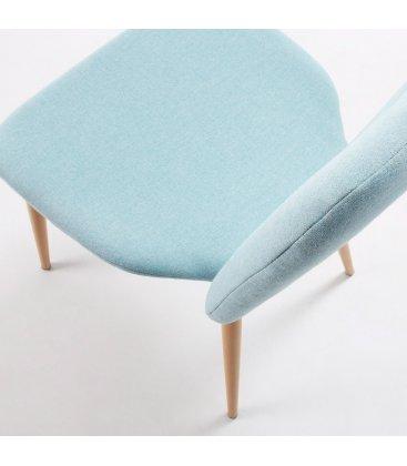 Silla de comedor tapizada en azul claro SQUARE  (2 unidades)