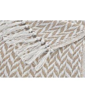 Plaid zig zag blanco y beige (170cmx130cm)
