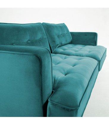 Sofá 3 plazas tapizado terciopelo turquesa desenfundable con patas de metal negro MAD