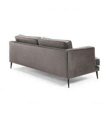 Sofá 3 plazas tapizado terciopelo gris desenfundable con patas de metal negro MAD